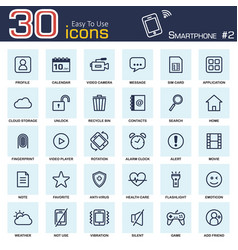 smartphone system icon set 2 outline style vector image
