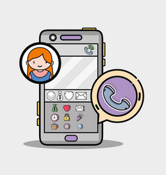 Smartphone with girl chat bubble message vector