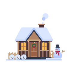 snowy suburban house rural winter cottage vector image