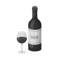 Spanish wine bottle with glass icon in monochrome vector