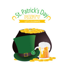 st patrick s day party let s celebrate hat beer mu vector image