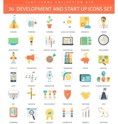 Startup and development flat icon set vector
