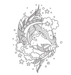 Stylized round composition with mermaid floating vector