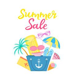 summer sale poster with beach bag air mattress vector image