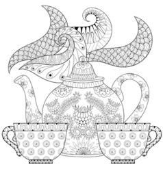 Teapod with steam vector