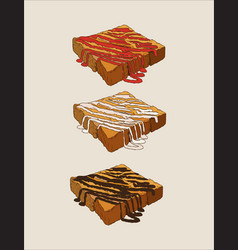Toasted bread with sauce hand draw sketch vector