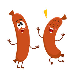Two funny sausage character with human face vector