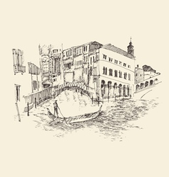 Venice city Italy vintage engraved vector image