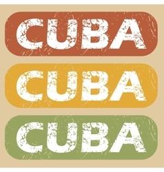Vintage Cuba stamp set vector image