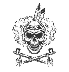 Vintage indian warrior skull with feathers vector
