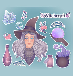 Witchcraft set pretty witch in magic hat ouija vector