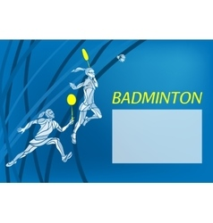 Womens doubles badminton players Color vector
