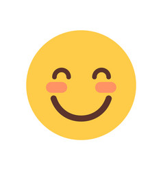 yellow smiling cartoon face shy closed eyes emoji vector image