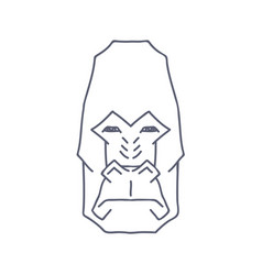 abstract gorilla head lineart on white backround vector image