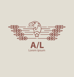 agriculture eagle logo label for natural farm vector image