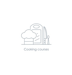 Cook food chef hat fork and board linear design vector