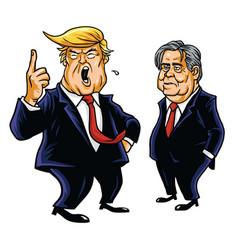 donald trump and steve bannon cartoon vector image vector image