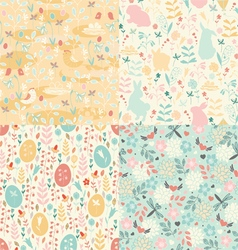 Easter set of patterns vector image vector image