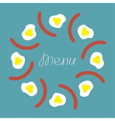 Egg and sausage round food frame Menu cover Flat vector image