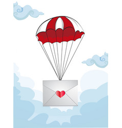 envelope with heart stamp flying on parachute vector image