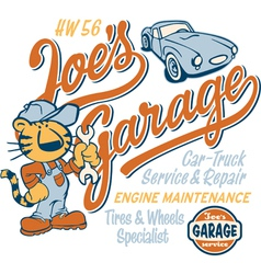 Joe Tiger garage vector image vector image