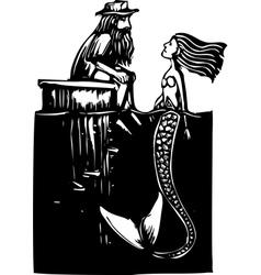 Mermaid and Man vector image vector image