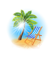 Palm tree and deck chair isolated on white vector