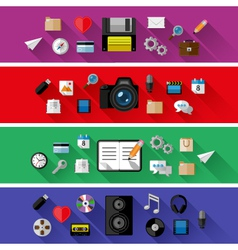 Set of web and business concepts vector image vector image