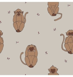 Wise monkeys seamless pattern hear see sayand vector image vector image