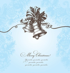 Hand drawn christmas background with bell vector