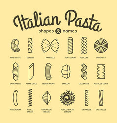 italian pasta shapes and names collection part 1 vector image vector image