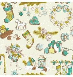 Seamless Christmas Pattern - hand drawn vector image vector image