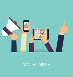 Set of people hands holding mobile devices Social vector image vector image