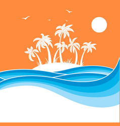 tropical island with palmssea waves blue vector image