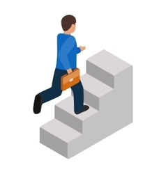 Businessman runs up the career ladder icon vector image