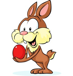 cute bunny hold red egg - vector image vector image