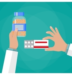 Doctor hand holding box of pills and capsules vector image vector image