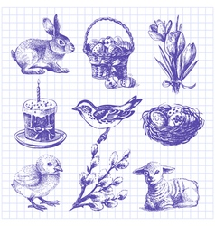 Easter set hand drawn ink vintage vector image vector image
