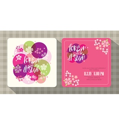 floral cherry blossom wedding invitation card vector image vector image