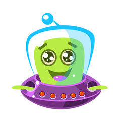 friendly smiling alien in a flying saucer cute vector image
