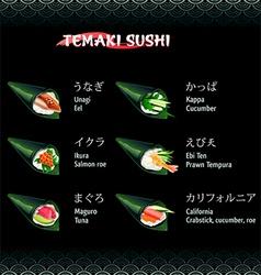 Hand roll sushi temaki vector