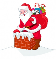 Santa Claus descends the chimney vector image vector image