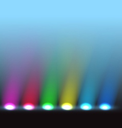 Illuminated stage with different colors lights vector image