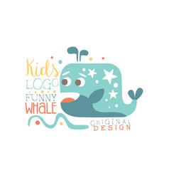 kids logo original design funny whale baby shop vector image vector image