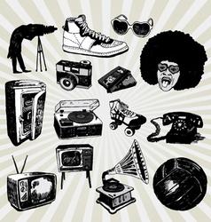 retro black and white vector image vector image