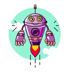 Robot isolated on a white background in cartoon vector image