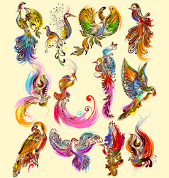tattoo art design of bird collection vector image vector image
