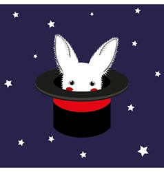 White Rabbit in Magician Hat vector image