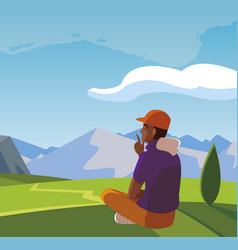 Afro man contemplating horizon in field vector