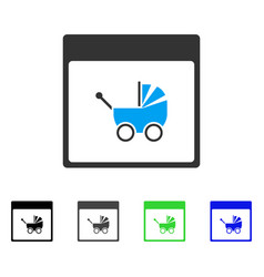 Baby carriage calendar page flat icon vector